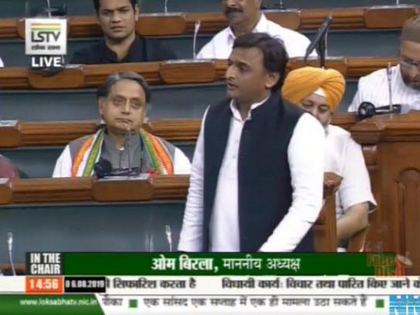 Samajwadi Party chief Akhilesh Yadav addressing the Lok Sabha on August 6. (Courtesy-Lok Sabha)
