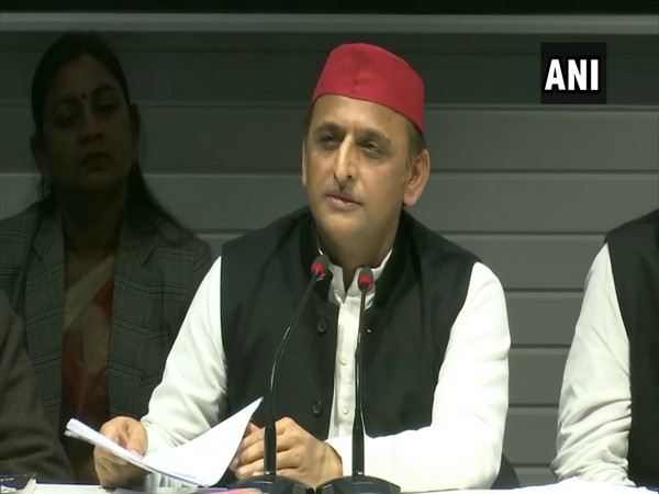 SP national president Akhilesh Yadav during a press conference in Lucknow. (Photo/ANI)