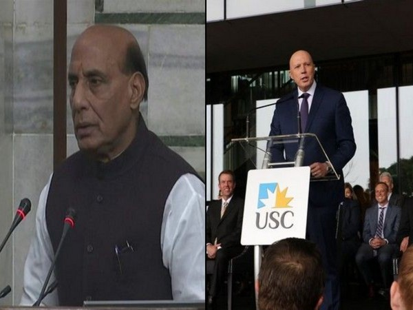 Indian Defense Minister Rajnath Singh and his Australian coumnterpart Peter Dutton