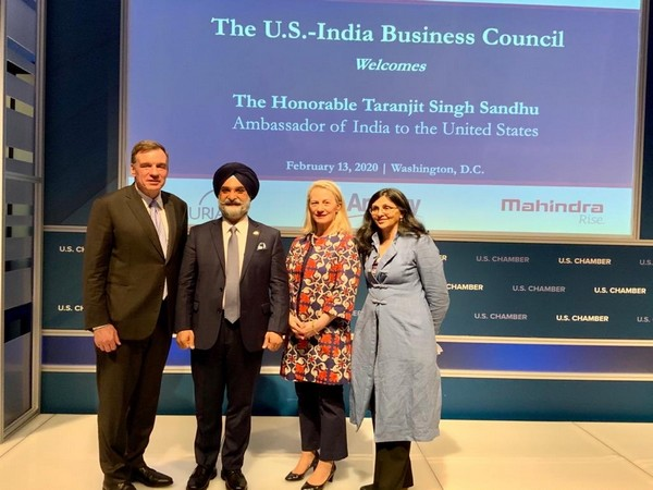 Senior US diplomat Alice G Wells with India's new Ambassador to the US, Taranjit Singh Sandhu in Washington DC on Thursday