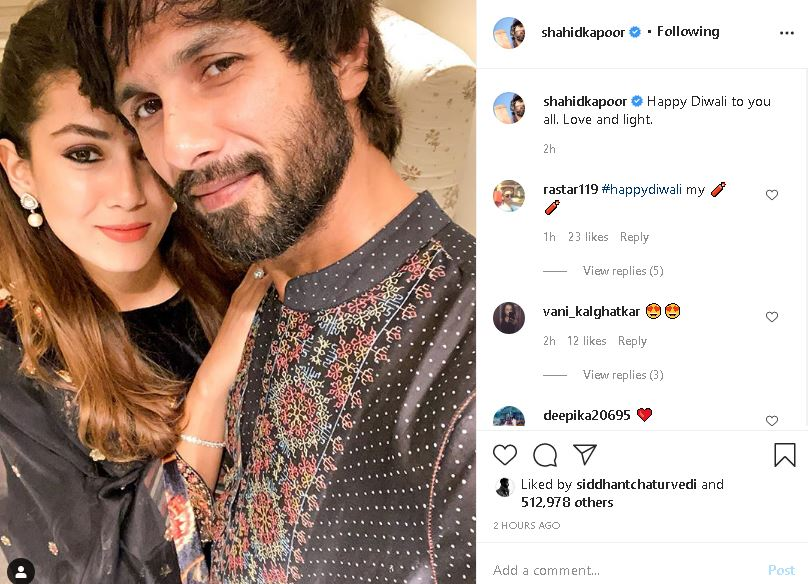 Shahid Kapoor Wife Mira Twin In Black As They Pose For Diwali Selfie Ani Bw Businessworld