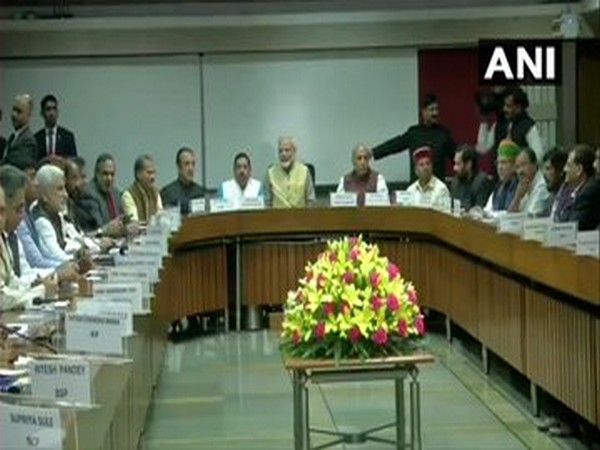 Prime Minister Narendra Modi along with other leaders during the all-party meeting held in Parliament on Thursday. Photo/ANI