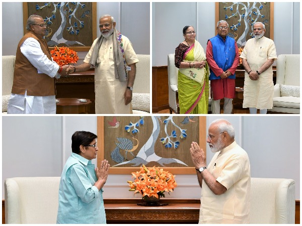 Prime Minister Narendra Modi meeting governors of various states on Saturday. (Picture Credits: PIB)