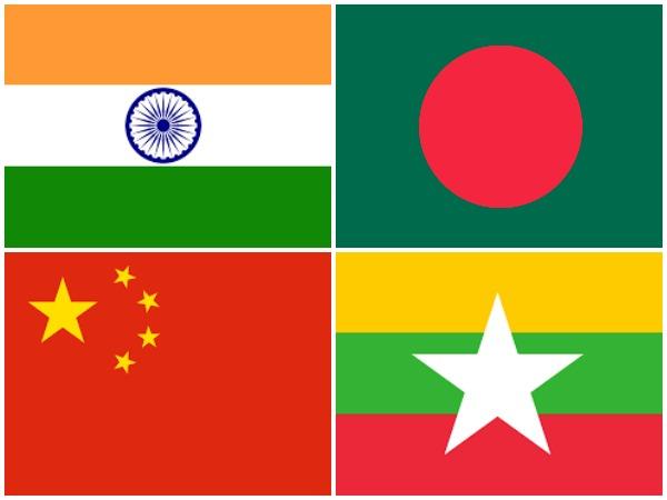 Flags of Bangladesh, China, India, Myanmar. (Representative Image)