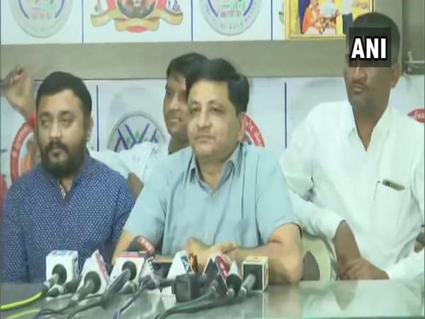 Gujarat Kshatriya Thakor Sena (GKTS) leader Amit Thakor addressing a press conference on Mondaa