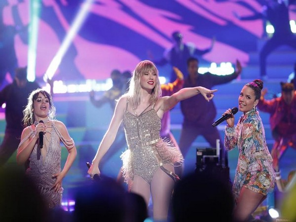 Camila Cabello, Taylor Swift and Halsey performing at 2019 American Music Awards