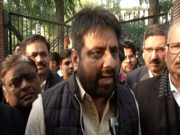 AAP MLA Amanatullah Khan speaking at a protest in New Delhi on Saturday. Photo/ANI