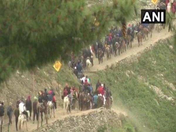 Pilgrims on their way to the Amarnath cave shrine. (File Photo/ANI)
