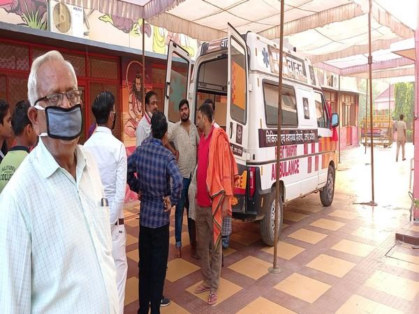 Visual of ambulance outside Baghambari Math (File Photo/ANI)