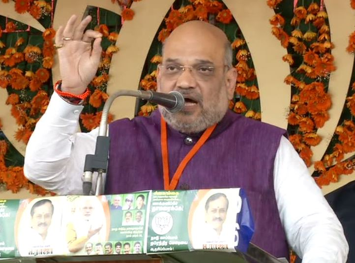 BJP president Amit Shah addressing an election rally here on Tuesday. Photo/ANI