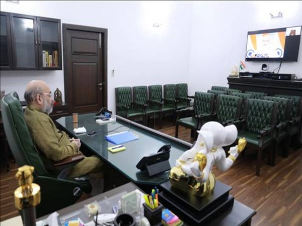 Union Home Minister Amit Shah at the video conference on Friday.