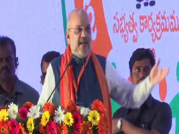 Union Home Minister Amit Shah speaking at a public rally in Ranga Reddy, Telangana on July 6. Photo/ANI