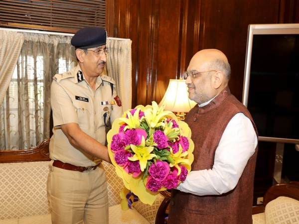 CISF DG Rajesh Ranjan with Home Minister Amit Shah in New Delhi on Monday. (Photo/Twitter @CISFHQrs)