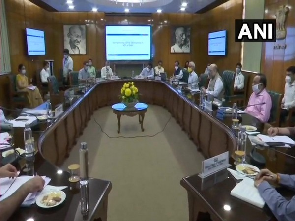 Union Home Minister Amit Shah chairing a meeting on coronavirus situation in Delhi