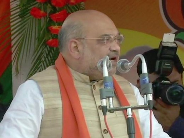 BJP president Amit Shah addressing a poll rally at Alipurduar, West Bengal on Friday. Photo/ANI