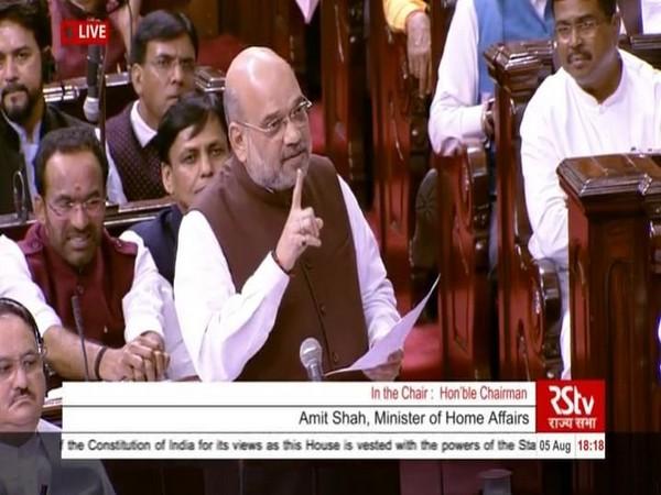 Amit Shah in Rajya Sabha on Monday.