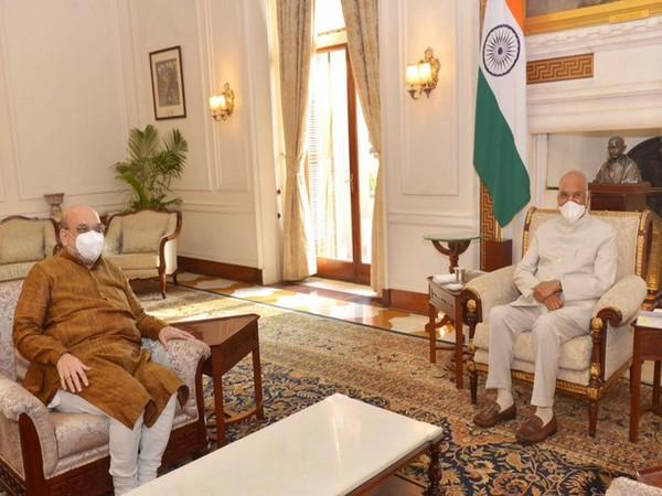 Union Home Minister Amit Shah on Monday visited President Ram Nath Kovind at Rashtrapati Bhavan. (Photo/ANI)