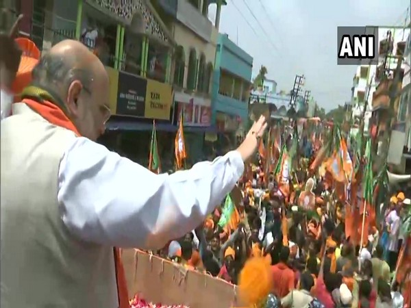 Amit Shah during the road show in West Bengal's Singur. (Photo/ANI)
