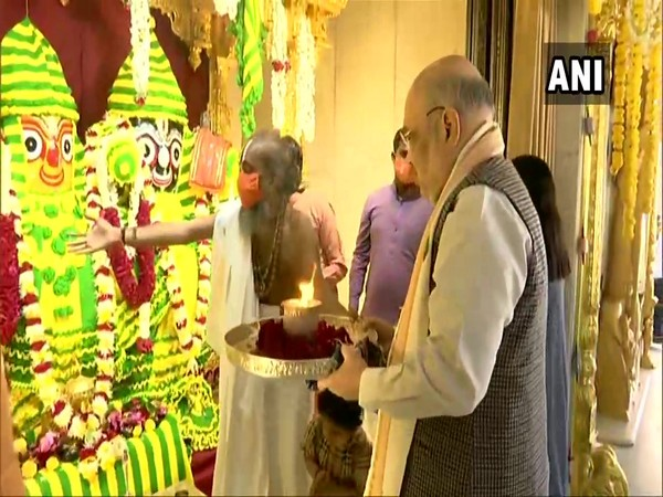 Union Home Minister Amit Shah offers prayers at Shree Jagannathji Temple in Gujarat's Ahmedabad (Photo/ ANI)
