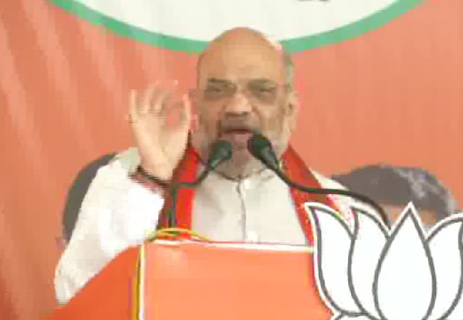 BJP president Amit Shah speaking at an election rally in Keonjhar, Odisha, on Friday. Photo/ANI