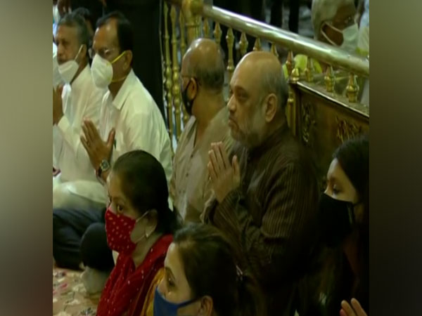 Union Home Minister Amit Shah at Jagannath Temple in Ahmedabad. (Photo/ANI)