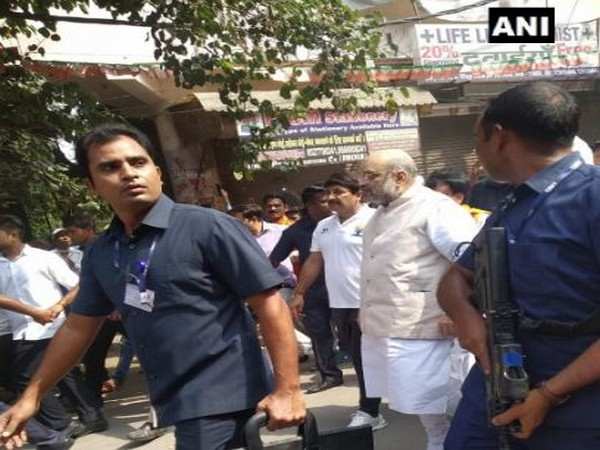 Union Home Minister Amit Shah participates in Gandhi sankalp Yatra at New Delhi on Wednesday. Photo/ANI