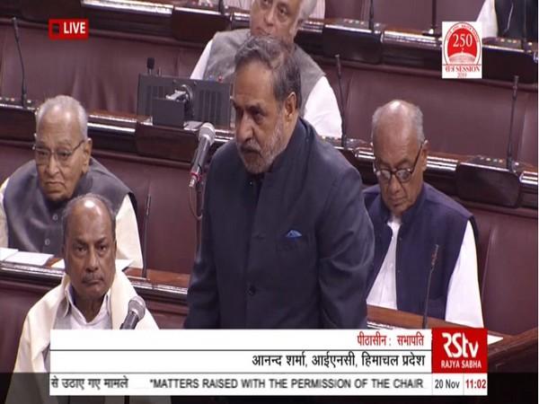 Congress MP Anand Sharma speaking in Rajya Sabha on Wednesday