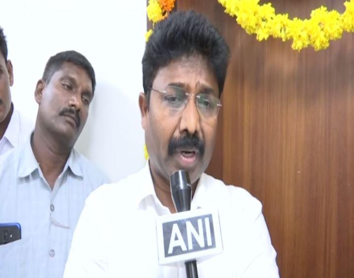 YRS Congress leader P Suresh speaking to ANI in Amarawati, Andhra Pradesh on June 20. Photo/ANI