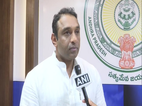 Industries Minister in the Andhra Pradesh Cabinet, Mekapati Goutham Reddy speaking to ANI in Amaravati on Monday. Photo/ANI