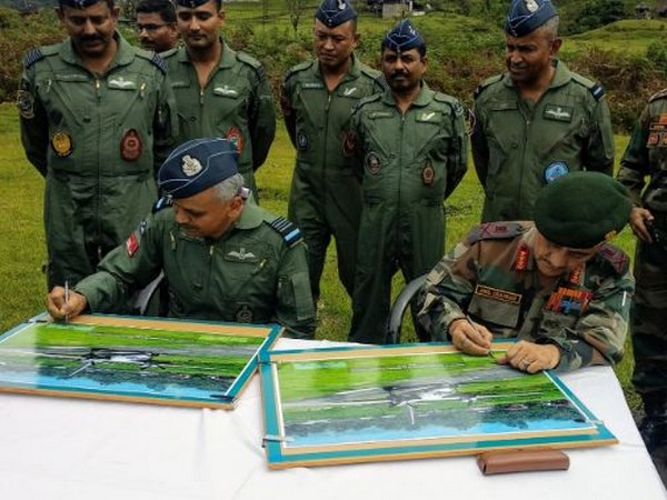 Air Marshal RD Mathur and Lieutenant General Anil Chauhan jointly inaugurated the Advance Landing Ground (ALG) in Arunachal Pradesh on Wednesday (Photo/ANI)