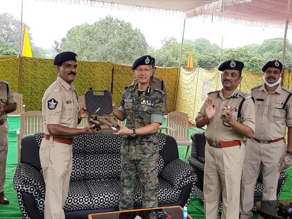 Andhra Pradesh DGP Gautam Sawang tests ultra modern GLOCK pistols from Israel. (Photo/ANI)