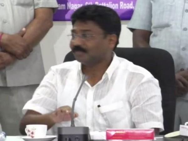 Andhra Pradesh Education Minister Adimulapu Suresh addressing the Media on Tuesday (Photo/ANI)