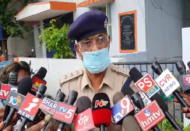 DSP Srinivasulu sppeaking to media on Friday in Andhra Pradesh.