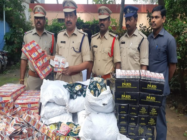 Nandigama police arrested two people and seized banned tobacco worth Rs 5.4 lakh in Kanchikacherla village, Krishna district. (Photo/ANI)