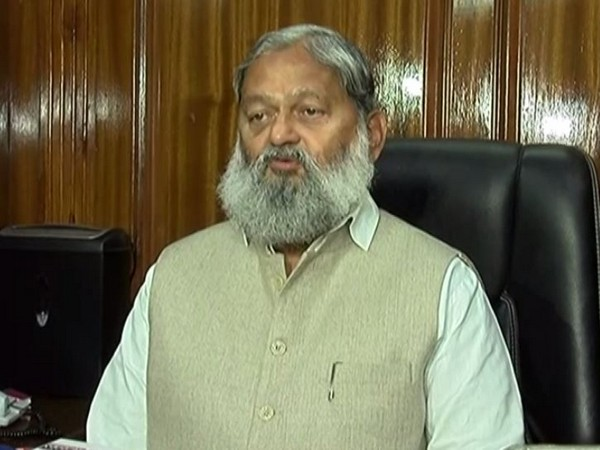 Haryana Home Minister Anil Vij speaking to reporters in Chandigarh on Monday. Photo/ANI