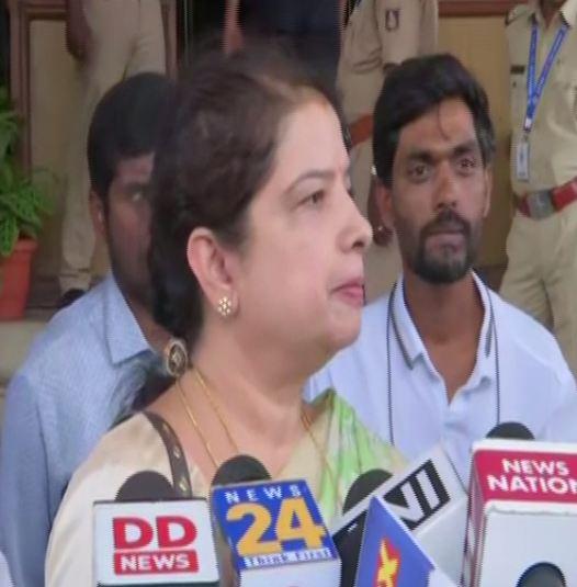 Anitha Kumaraswamy speaking to media at Vidhana Soudha in Bengaluru on Friday