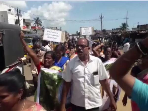 Visual from protest in Srikakulam, Andhra Pradesh
