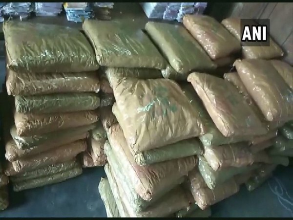 195 kgs of cannabis recovered by the officials from a car in Vizag on Sunday. Photo/ANI