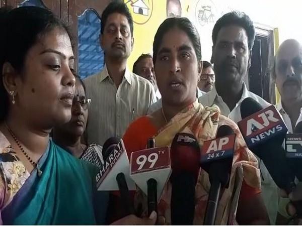 Yalamanchili Padmaja speaking to media in Krishna district, Andhra Pradesh