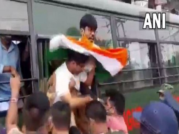 A visual of arrested BJP Yuva Morcha workers in West Bengal. (Photo/ANI)