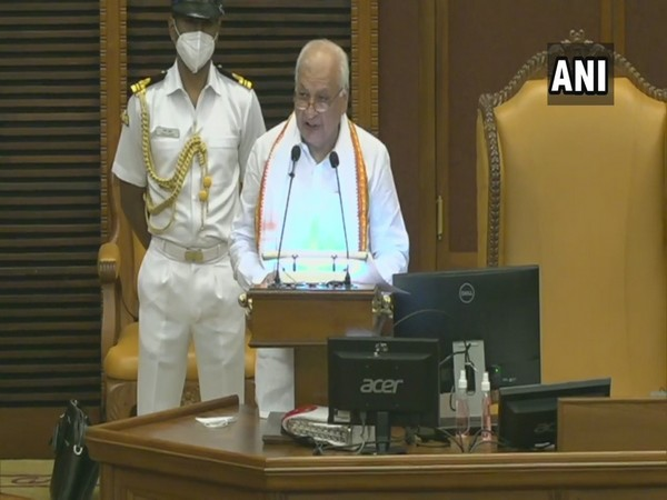 Kerala Governor Arif Mohammad Khan during his address in state assembly on Friday. (Photo/ANI)