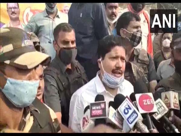BJP MP Arjun Singh speaking to reporters in North 24 Parganas on Saturday.