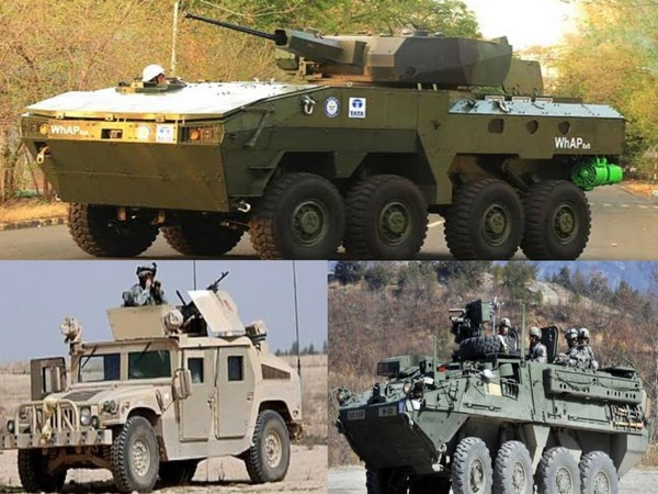 File photos of Tata Whap (above) and American Humvee and Stryker armoured vehicles (below)