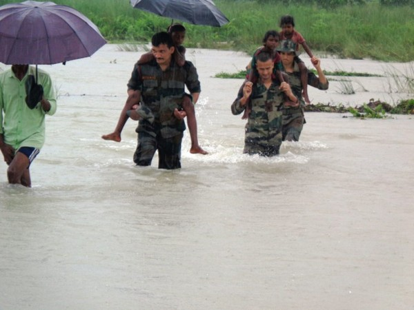 Flood relief operation by Indian Army underway in flood-hit areas of lower Assam