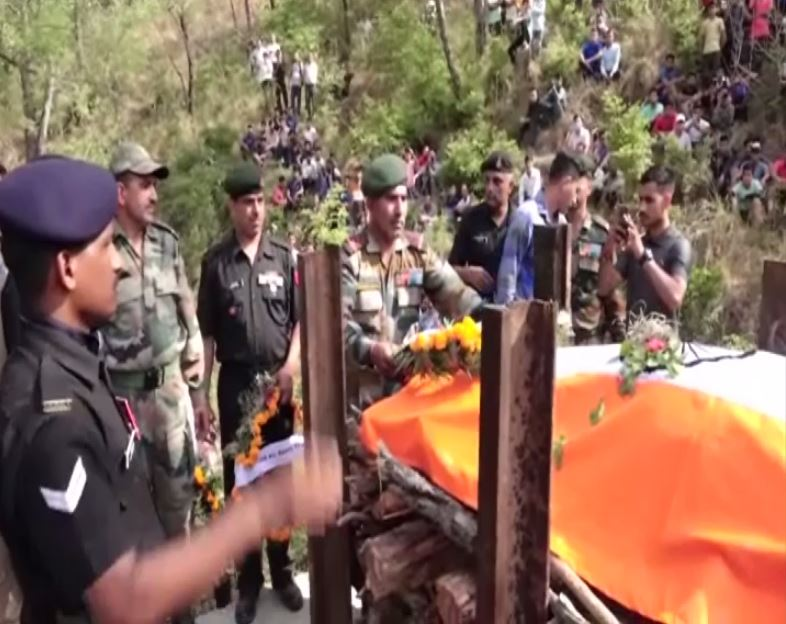 Visuals from Una where cremation of slain jawan Anil Jaiswal took place. Photo/ANI