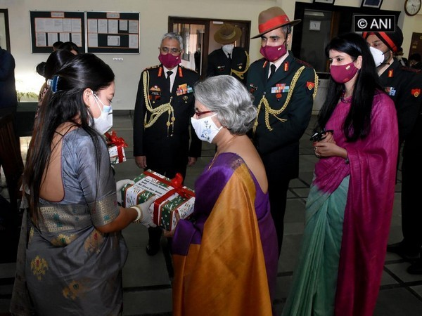 Indian Army Chief's wife Veena Naravane delivered gifts from Gorkha soldiers to their wives living in Kathmandu on November 6. [Photo/ANI]