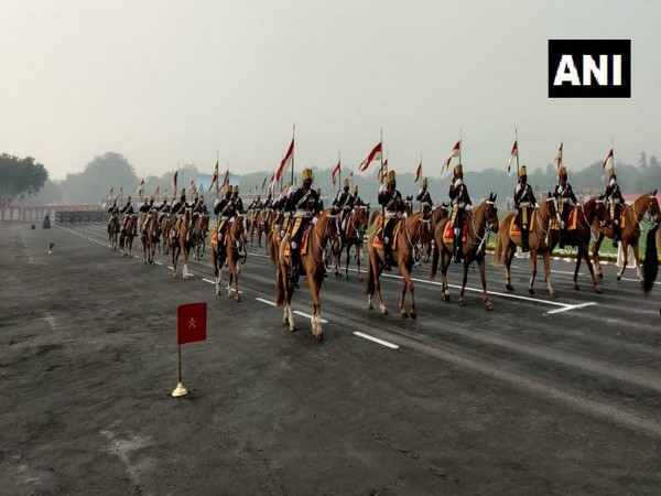 Army Day Parade full-dress rehearsal at Cariappa Parade Ground in New Delhi