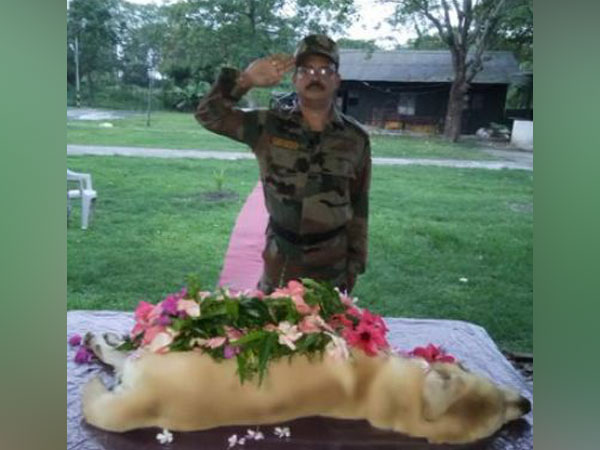 Army Eastern Command pays respect to 'Dutch' a 9-year-old dog in Kolkata on Saturday. (Picture credit: Army Eastern Command Twitter)