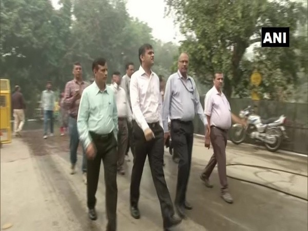 SDMC) officials took stock of the pollution mitigation measures near Arun Jaitley Stadium in Delhi
