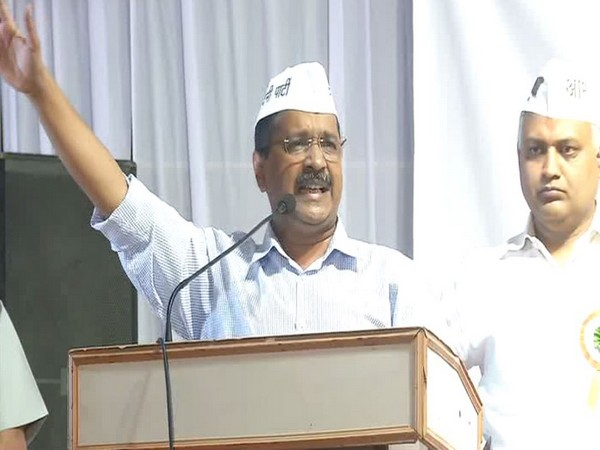 Delhi Chief Minister Arvind Kejriwal addressing a public rally in New Delhi on Sunday. Photo/ANI